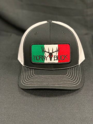 Horny Buck Black/White  Mexican Flag Patch Cap