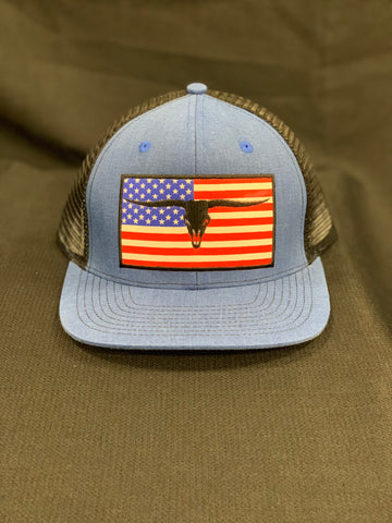 Rope Horny Blue/Black Mesh USA Patch Cap