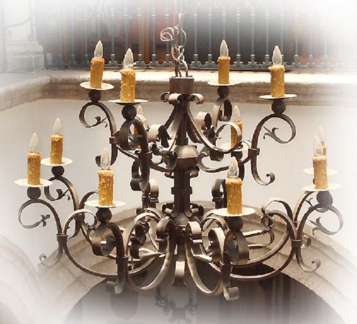 Iron Chandelier for a Large Room and Foyer