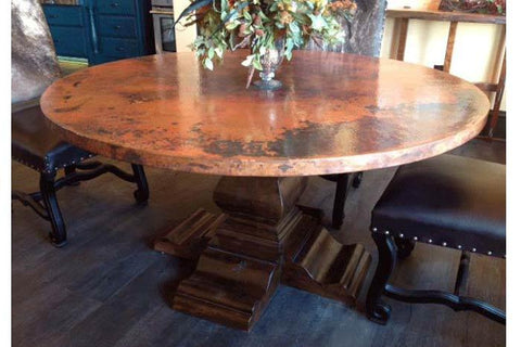 copper tabletop in a dining room