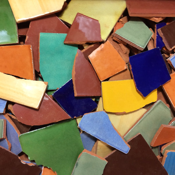 broken mexican tiles for mosaics