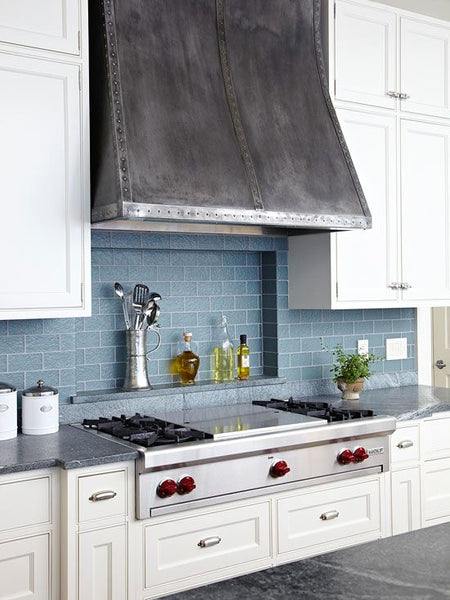 antique zinc metal range hood
