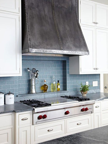custom metal vent hood in a kitchen