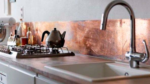 custom made copper kitchen backsplash