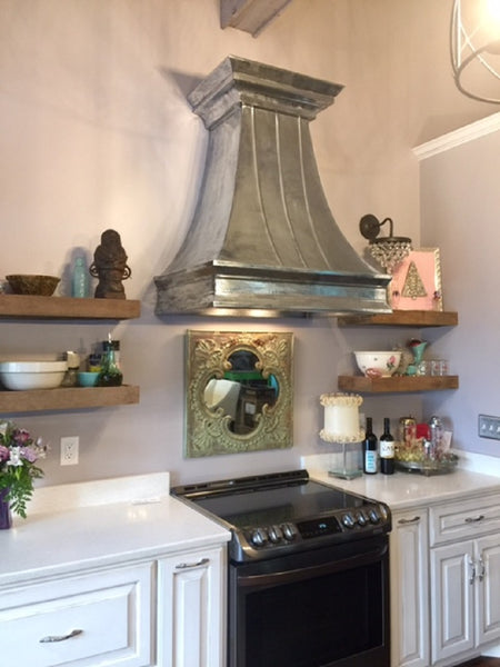 custom made zinc range hood for kitchen wall installation