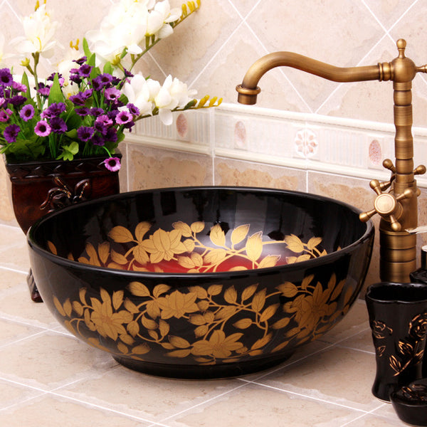 decorative bathroom sink with flowers
