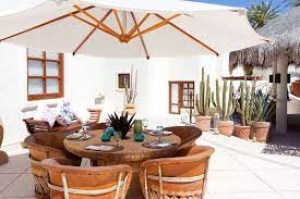 Mexican style outdoor furniture in a garden