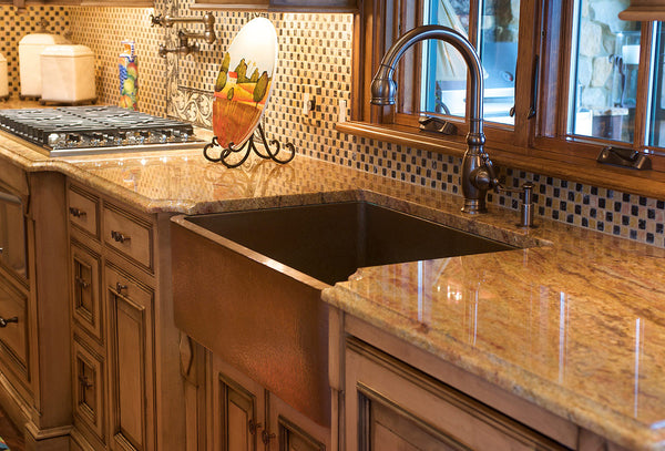 custom copper kitchen sink with apron