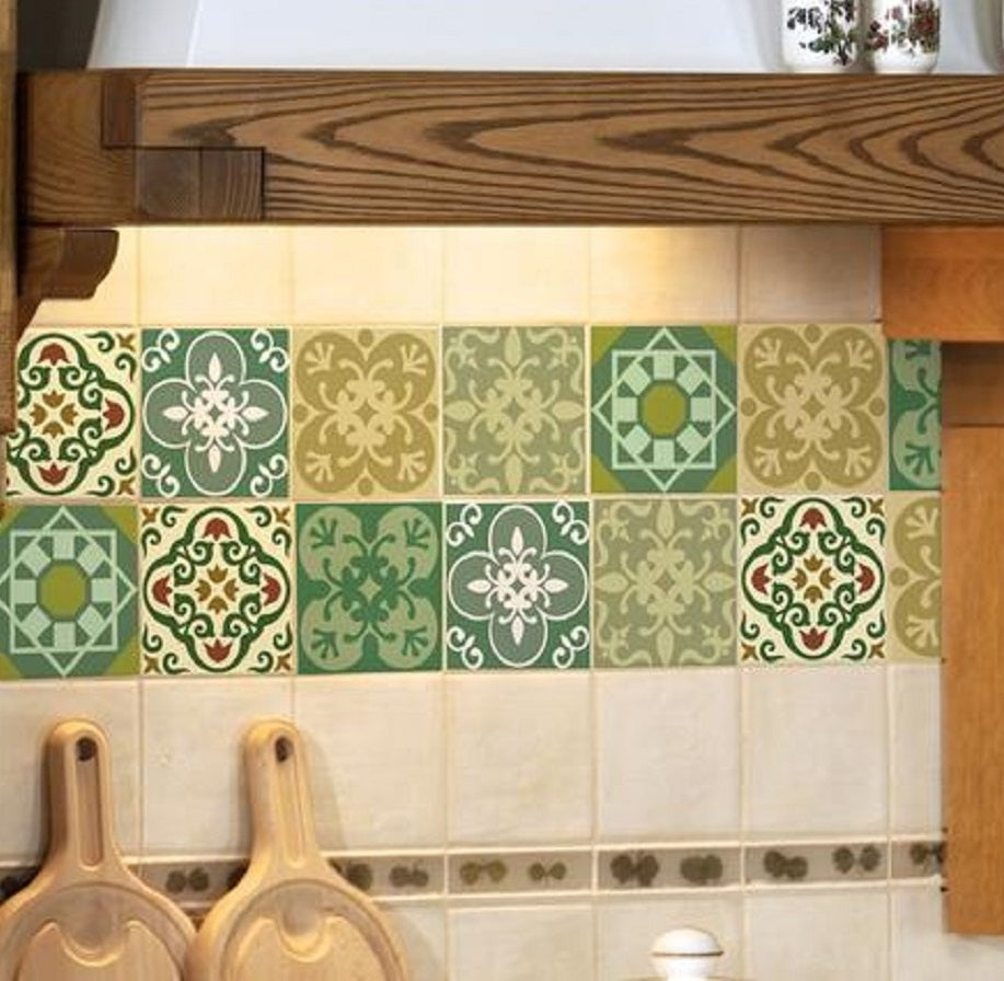 hand painted ceramic tile mural on a backsplash wall in a kitchen