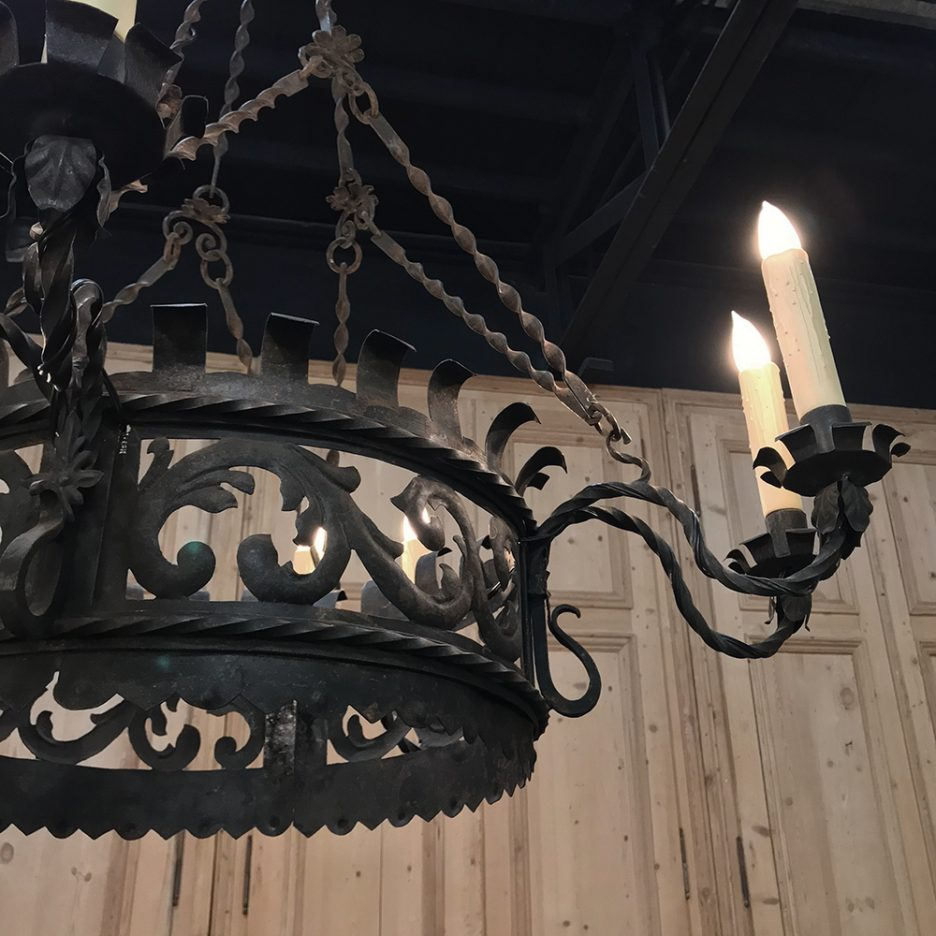 image of a wrought iron light fixture