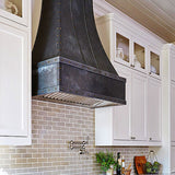 "36"" dark zinc custom range hood side view"