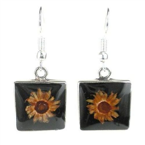 Small Square Nahua Flower and Alpaca Silver Earrings Handmade and Fair Trade