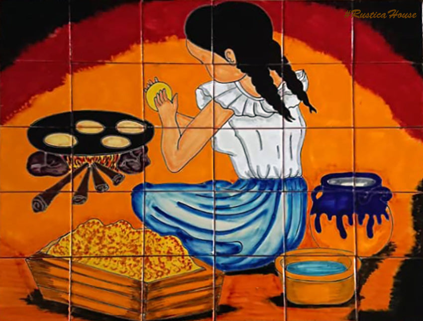 custom mexican backsplash mural
