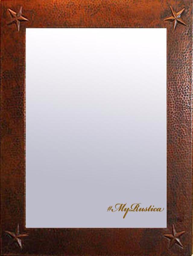 rectangular hammered copper mirror frame