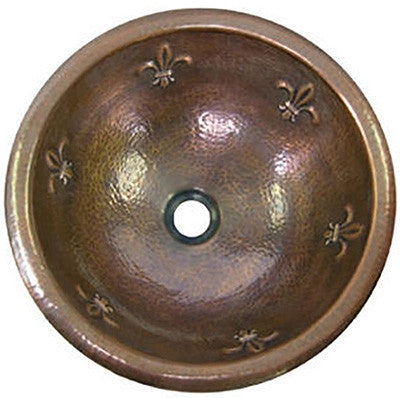 old world round copper bathroom sink