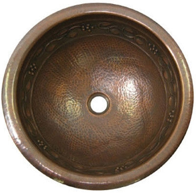 Spanish round copper bathroom sink
