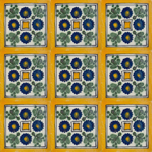 yellow green talavera tile