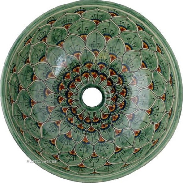 yellow green round talavera bathroom sink