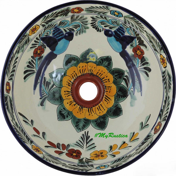 Mexican round talavera bathroom sink