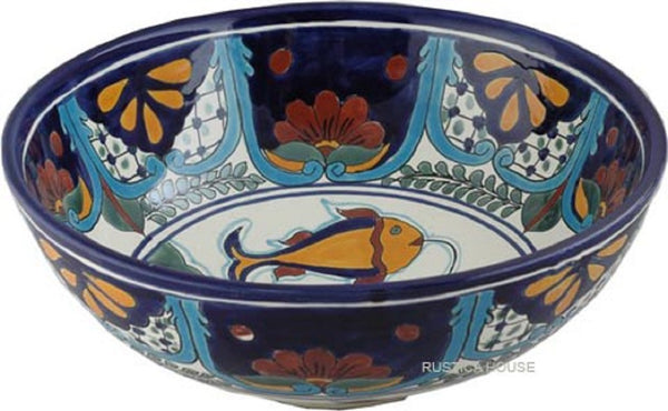 old European round talavera vessel sink