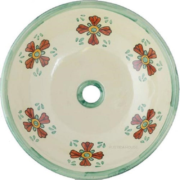 French round talavera bathroom sink