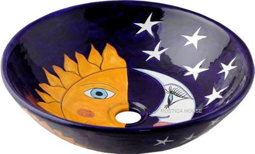 French round talavera vessel sink