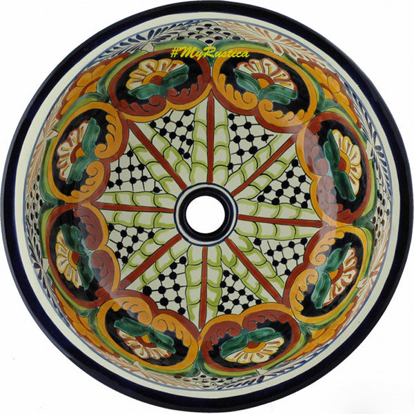 rustic round talavera bathroom sink