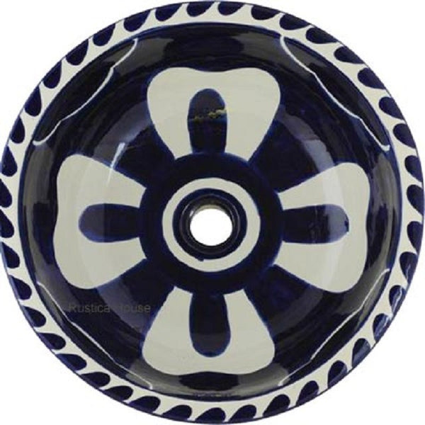 cobalt white round talavera bathroom sink