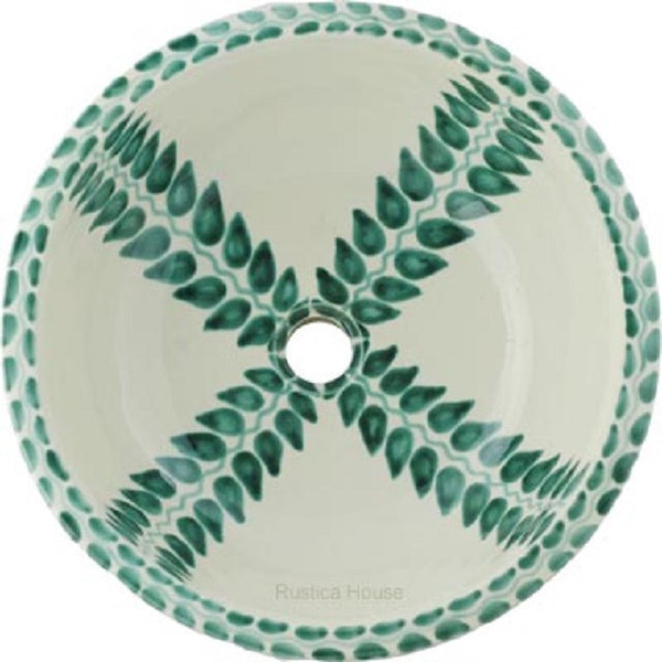 green white round talavera bathroom sink