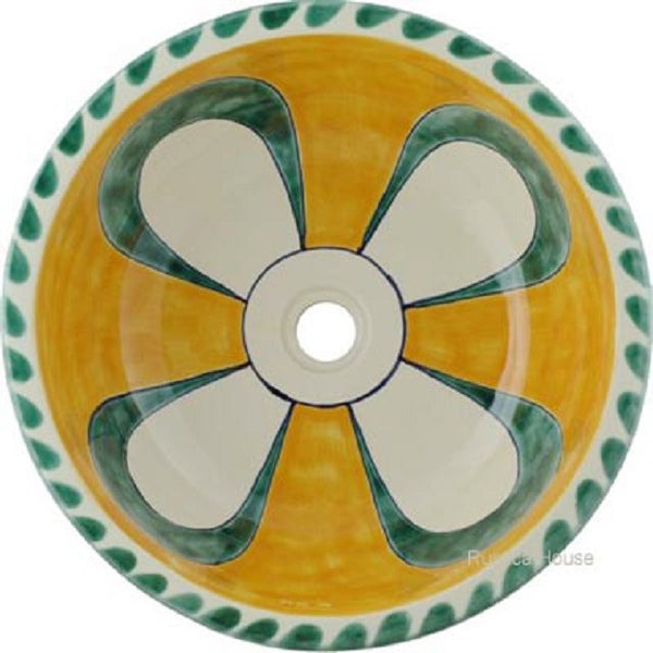 yellow white round talavera bathroom sink