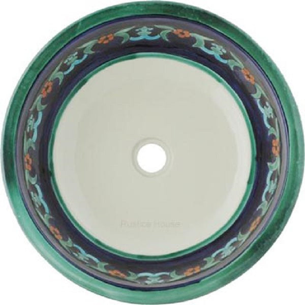 cobalt green round talavera bathroom sink