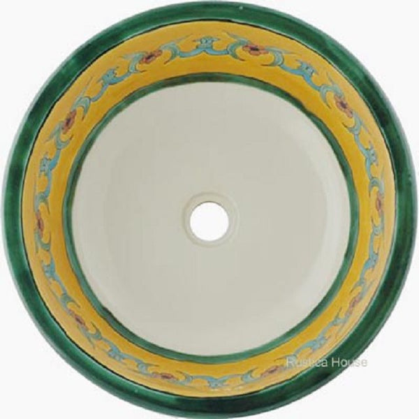 green colonial round talavera bathroom sink