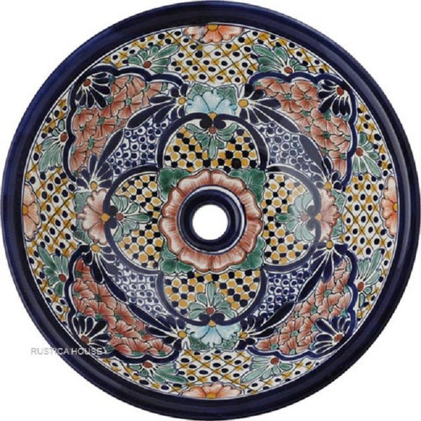 terra cotta green round talavera bathroom sink