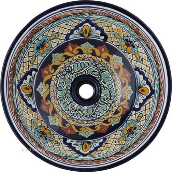 terra cotta cobalt round talavera bathroom sink