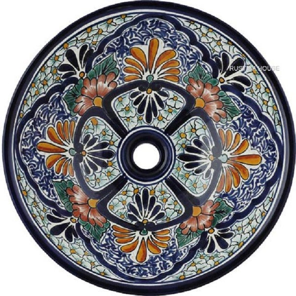 terra cotta old world round talavera bathroom sink
