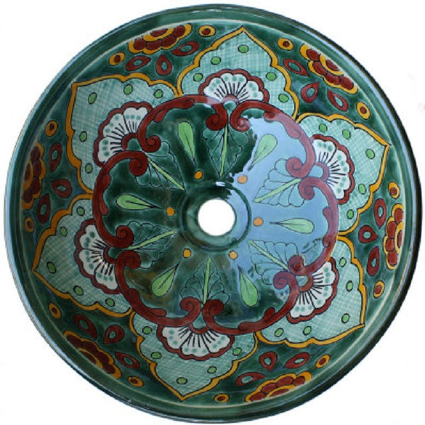 green Spanish round talavera bathroom sink