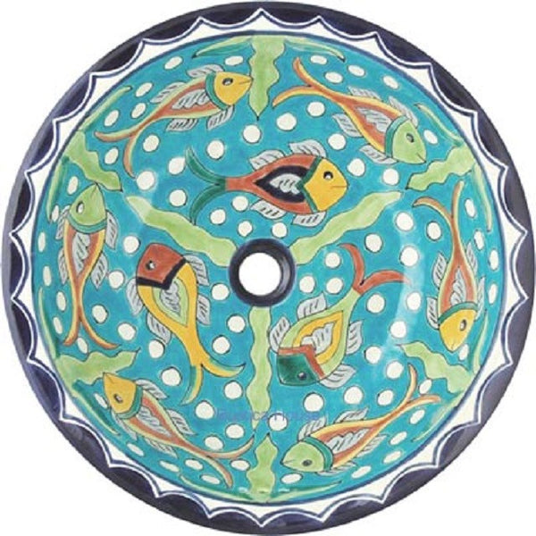 turquoise round talavera bathroom sink
