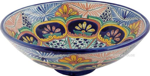 contemporary round talavera vessel sink
