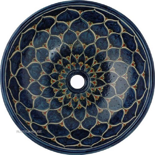 white cobalt round talavera bathroom sink