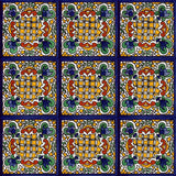 blue old European talavera tile