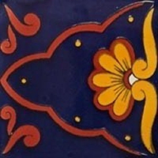 yellow cobalt mexican ceramic tile