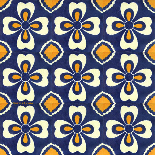 country yellow blue talavera tile