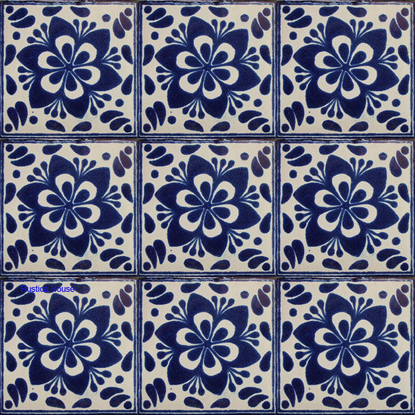 old European navy blue talavera tile