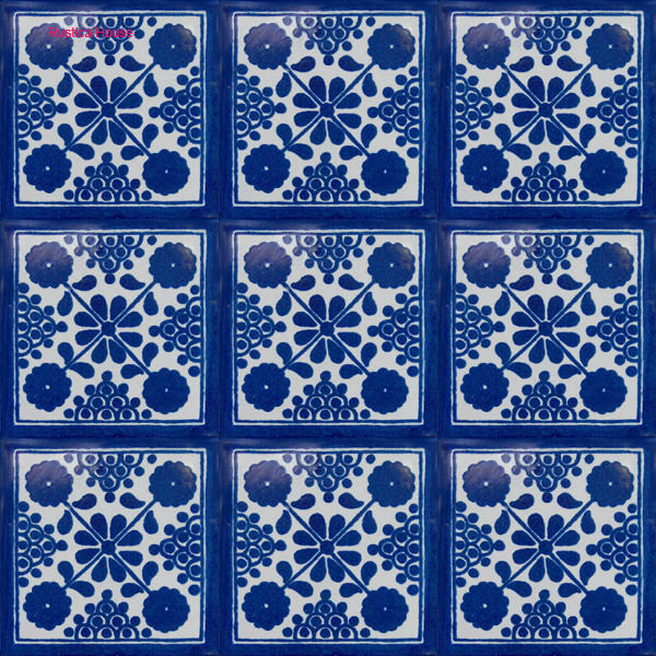 country dark blue talavera tile