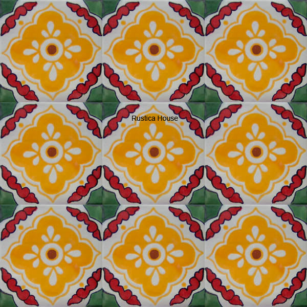 traditional green yellow talavera tile