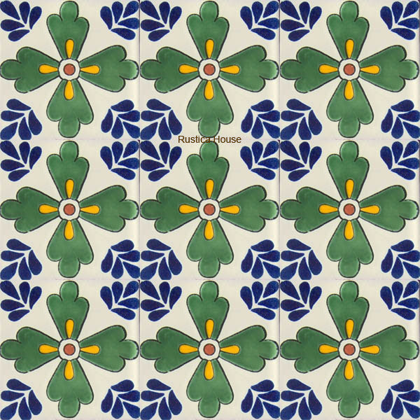 colonial green blue talavera tile