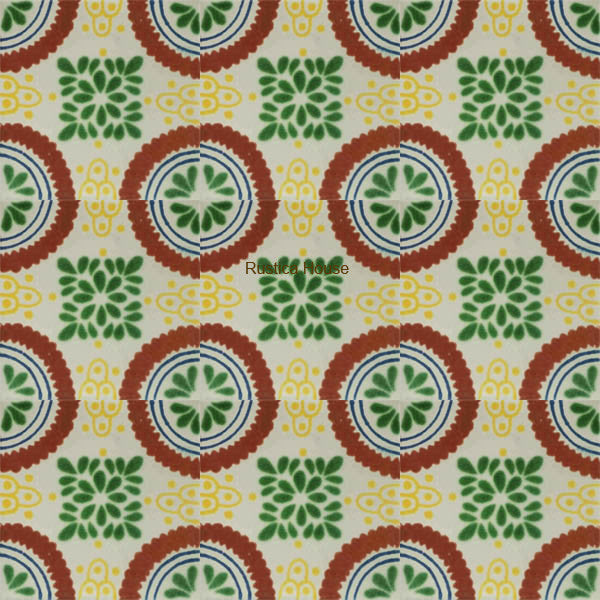contemporary terracotta green talavera tile