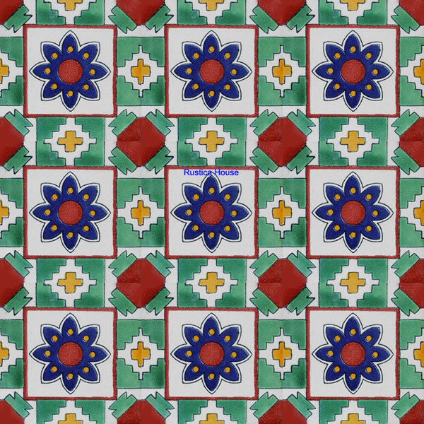 colonial green cobalt talavera tile