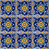 rustic yellow dark blue talavera tile