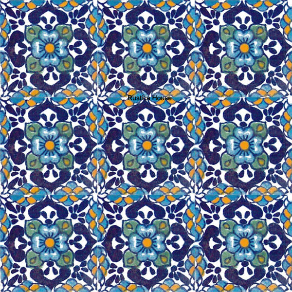 mexican blue talavera tile
